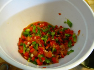 Guacamole peppers onions tomatoes