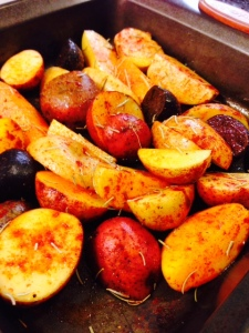 Meanwhile, get some potatoes in the oven. For about 30-45 minutes at 400 degrees.