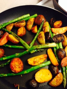 Cook up some asparagus and throw in the potatoes and sear on a pan together.